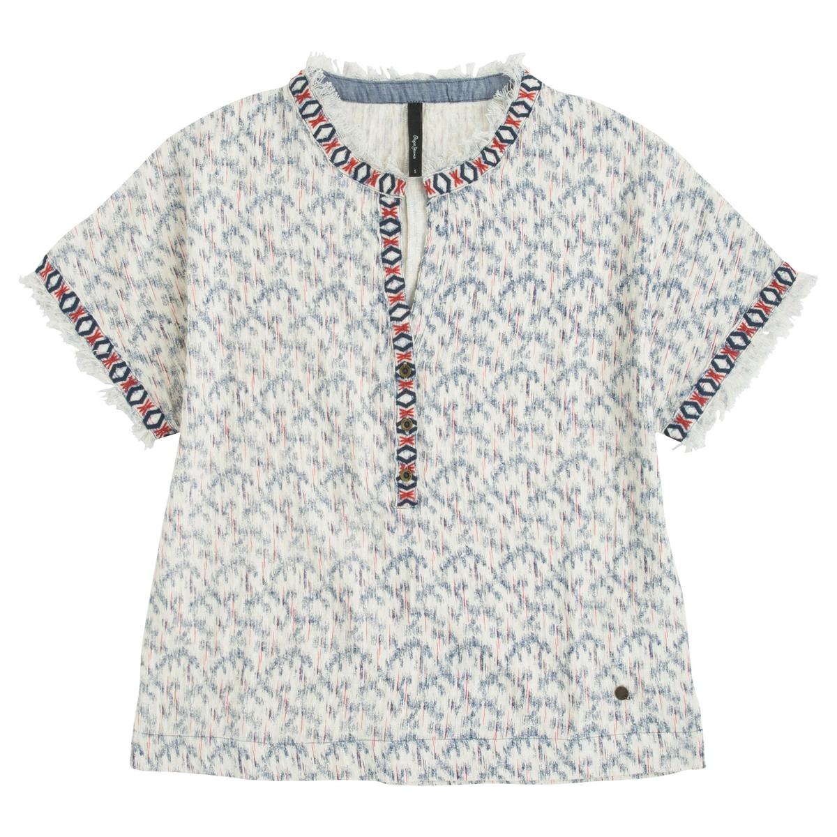 Блузка с рисунком и короткими рукавами цена 2016