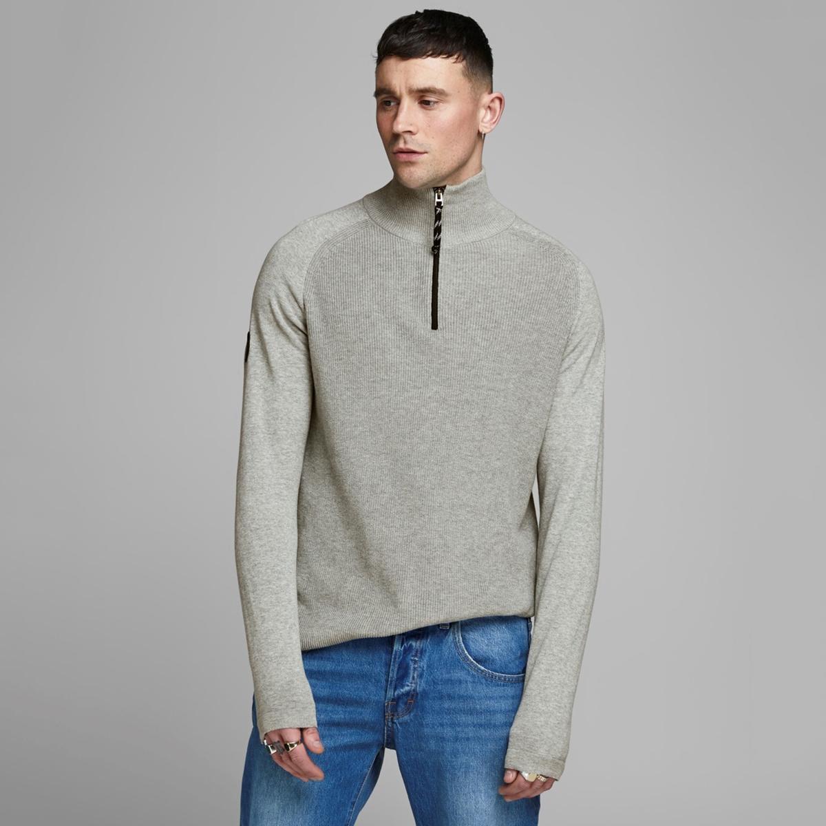 Пуловер La Redoute С воротником-стойкой на молнии Jorklover S серый