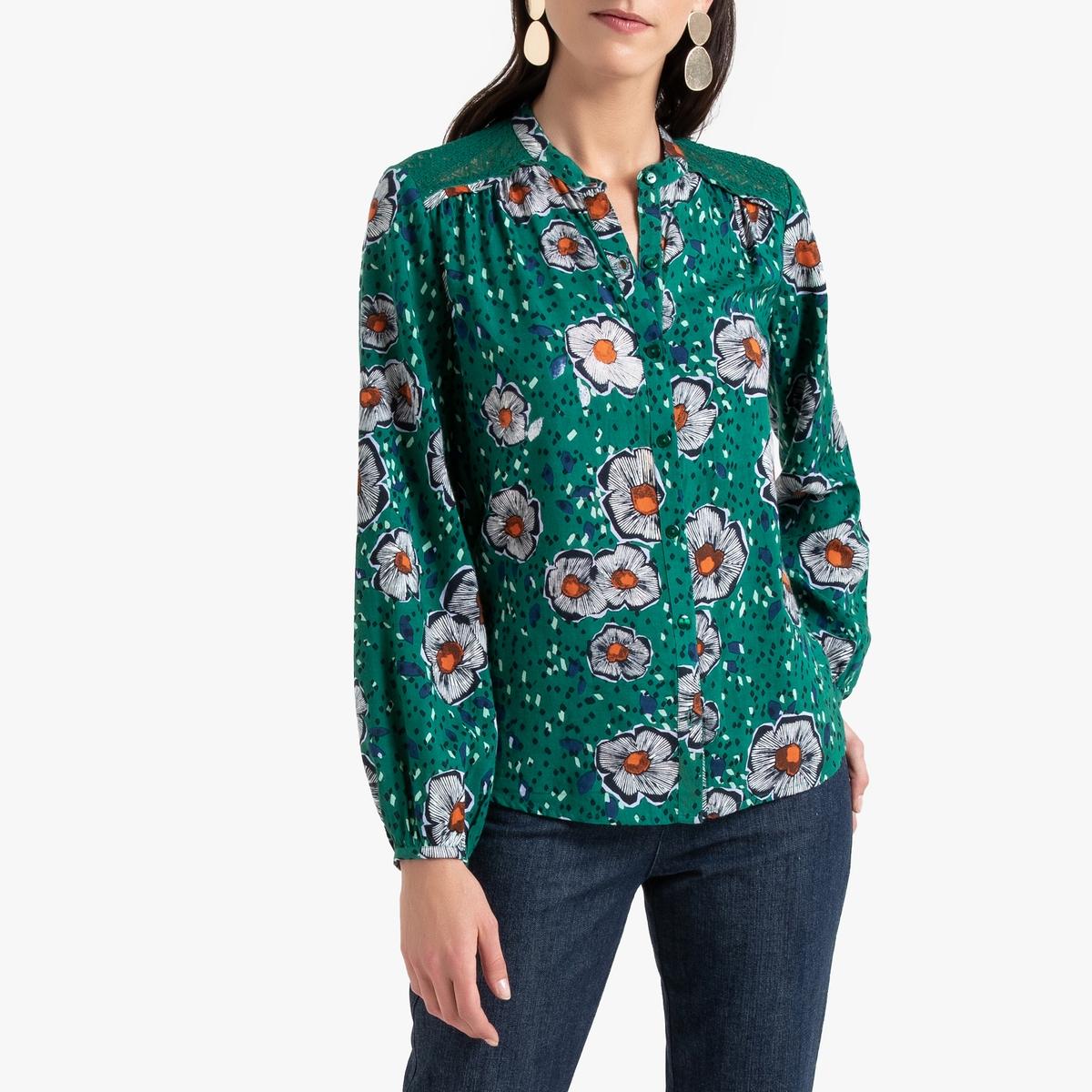 Camisa com estampado floral, decote tunisino