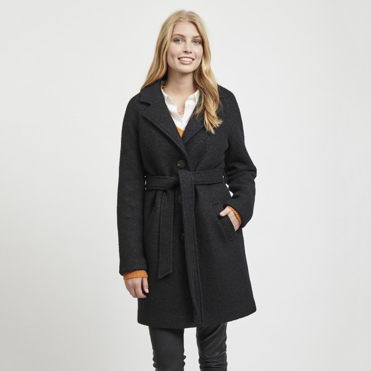Пальто La Redoute Длинное с ремешком 40 (FR) - 46 (RUS) черный