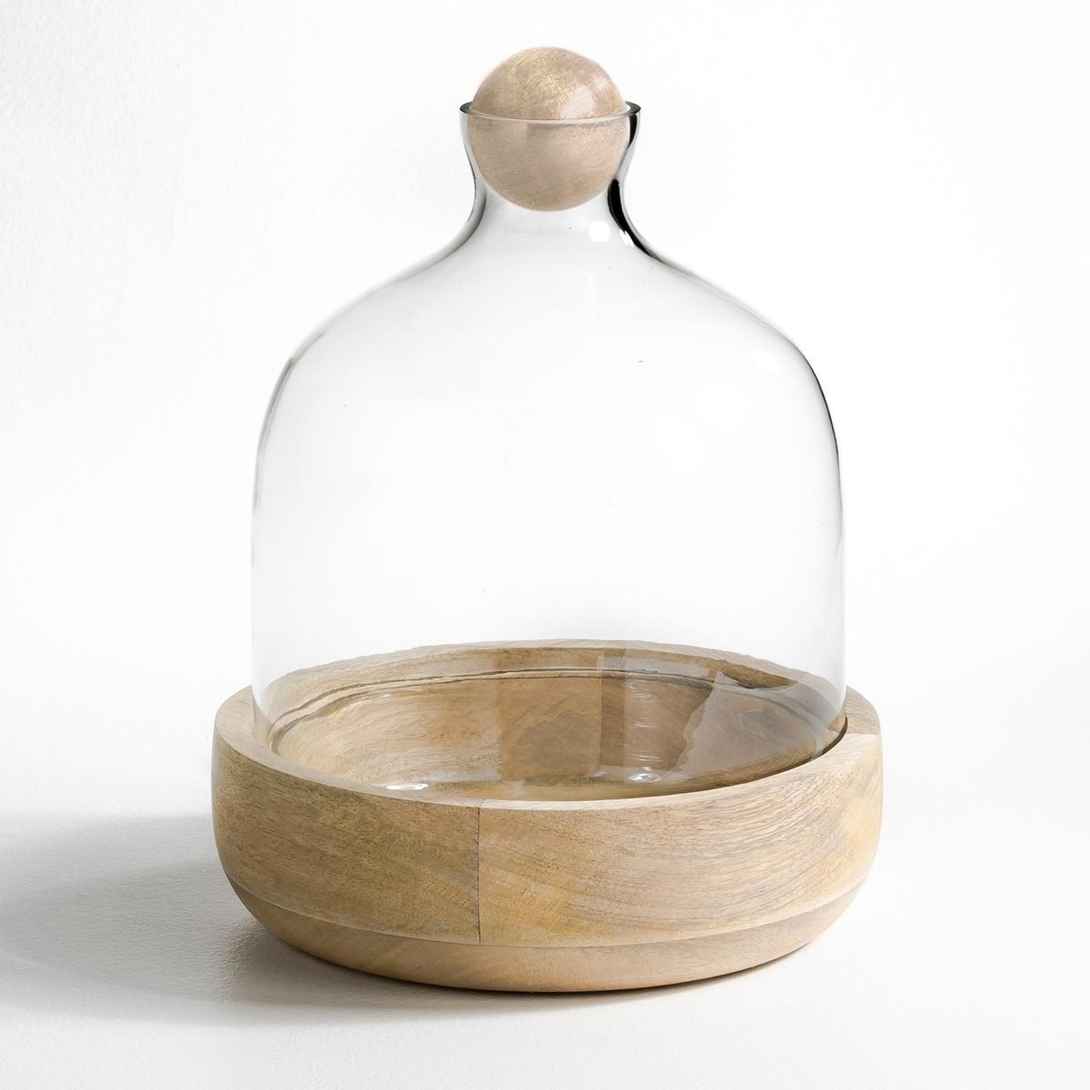 Террариум Rozo из стекла и мангового дереваТеррариум состоит из основы из массива мангового дерева, горловины и купола из стекла и пробки в форме шарика из мангового дерева.Добавьте немного земли и зелени внутрь и этот террариум станет настоящим мини-садом в Вашем доме.Экологическая мини-теплица по переработке воды и воздуха.Сосуд хорошо пропускает свет, а если он плотно закрыт, то внутри образуется конденсат за счёт испарений из влажной почвы.Идеально подходит для маленьких растений, которые нуждаются в повышенной влажности.  Размеры: ? 27, Выс. 35 см.<br><br>Цвет: прозрачный/натуральное дерево
