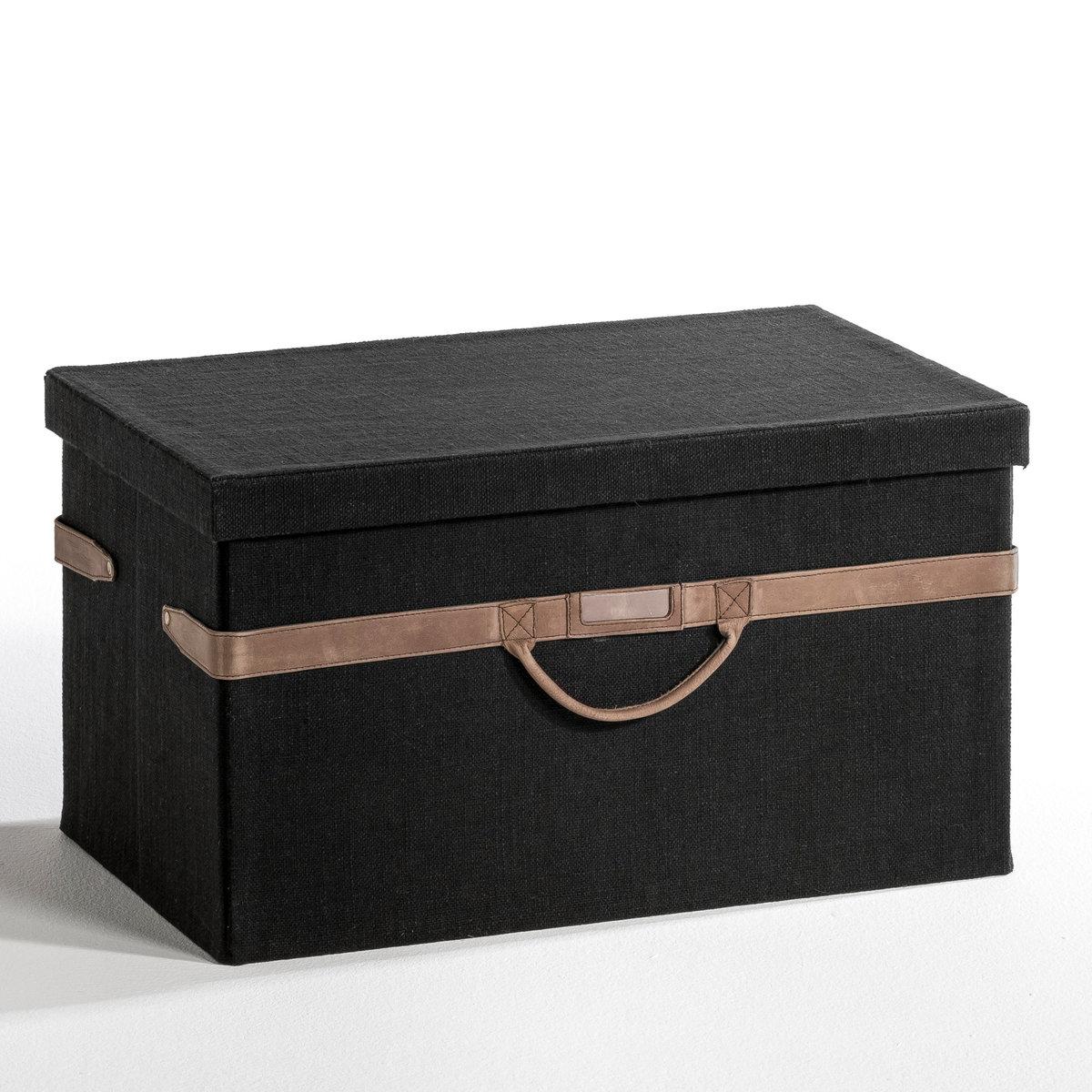 Ящик для хранения KYRIELНезаменимы для поддержания порядка в гардеробе, идеальны для хранения любых видов одежды и аксессуаров (носков, нижнего белья,     поясов, платков, ...). Из ажурной льняной ткани чёрного или бежевого цвета с отделкой из коричневой кожи . Для самостоятельной сборки. Размеры: 54 x 34 x 31  см.<br><br>Цвет: серый