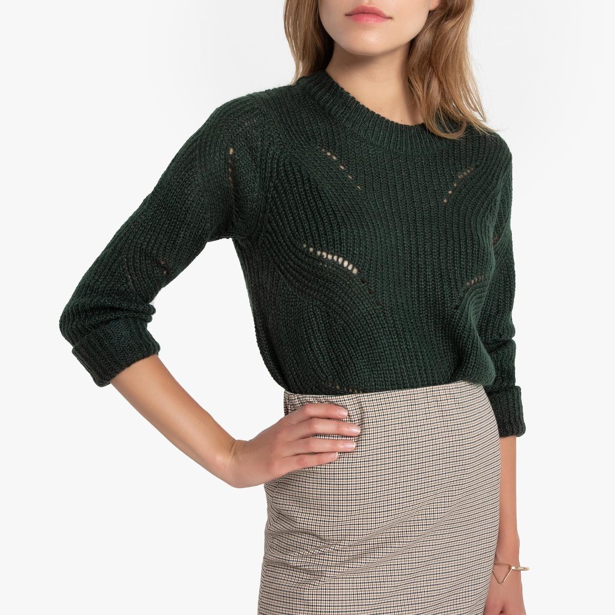 Пуловер La Redoute С круглым вырезом из плотного трикотажа XL зеленый пуловер la redoute с круглым вырезом из плотного трикотажа 3xl бежевый