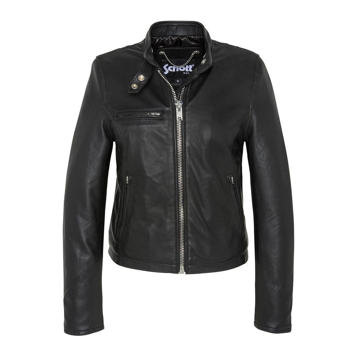 Блузон в байкерском стиле из кожи ягненка LCW9641A пальто в байкерском стиле oasis пальто в байкерском стиле