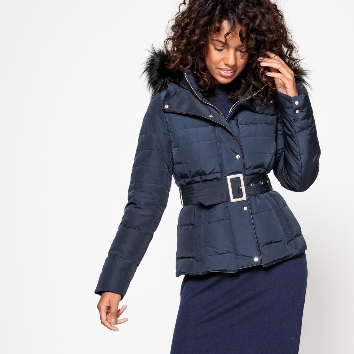 Куртка стеганая, укороченная зимняя модель из синтетического материала