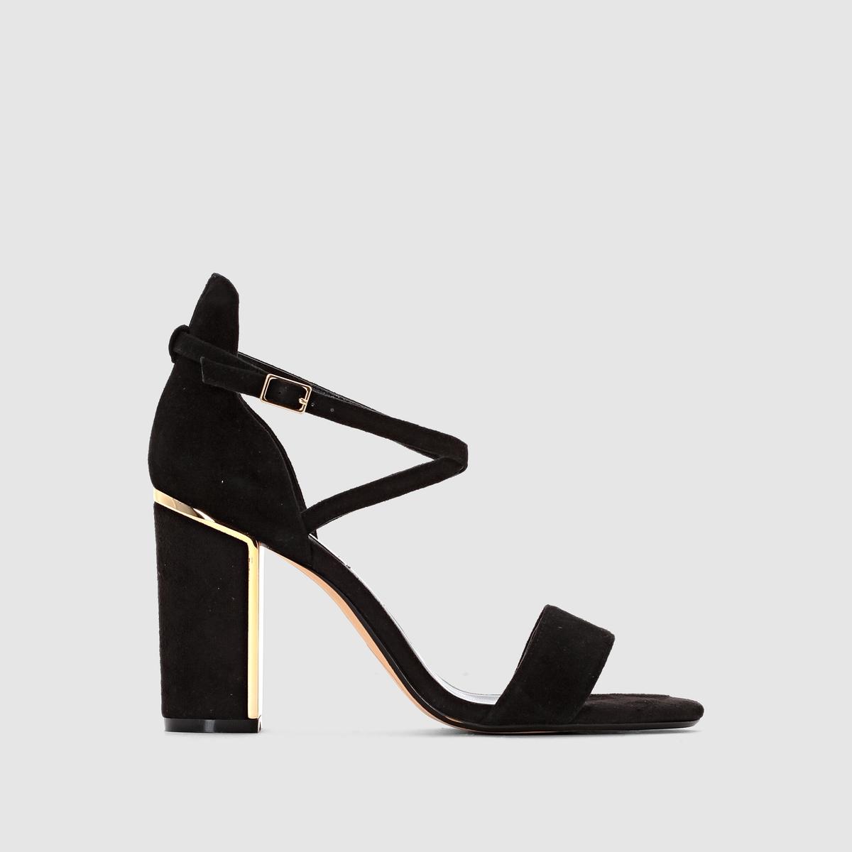 Босоножки на каблуке MAYBEL, велюровая кожаИзысканность, женственность и современность - босоножки на высоком каблуке Maybel от Dune London! Детали: золотистая металлическая деталь на каблуке!<br><br>Цвет: черный<br>Размер: 40