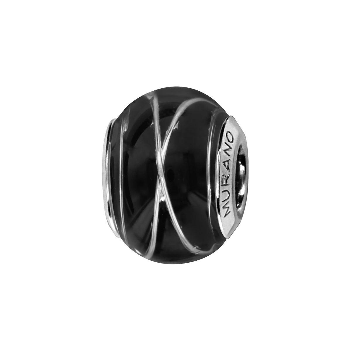 Charm Verre de Murano Nuit Fil Argent 925 - Compatible Pandora, Trollbeads, Chamilia, Biagi