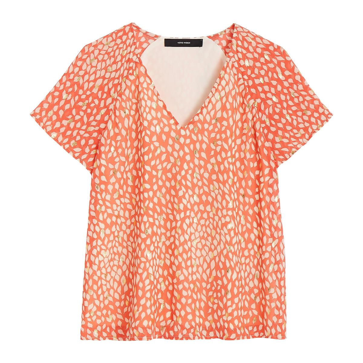Блузка La Redoute Струящаяся с короткими рукавами и рисунком из золотистой фольги L розовый блузка с рисунком и рукавами с напуском kalao blouse