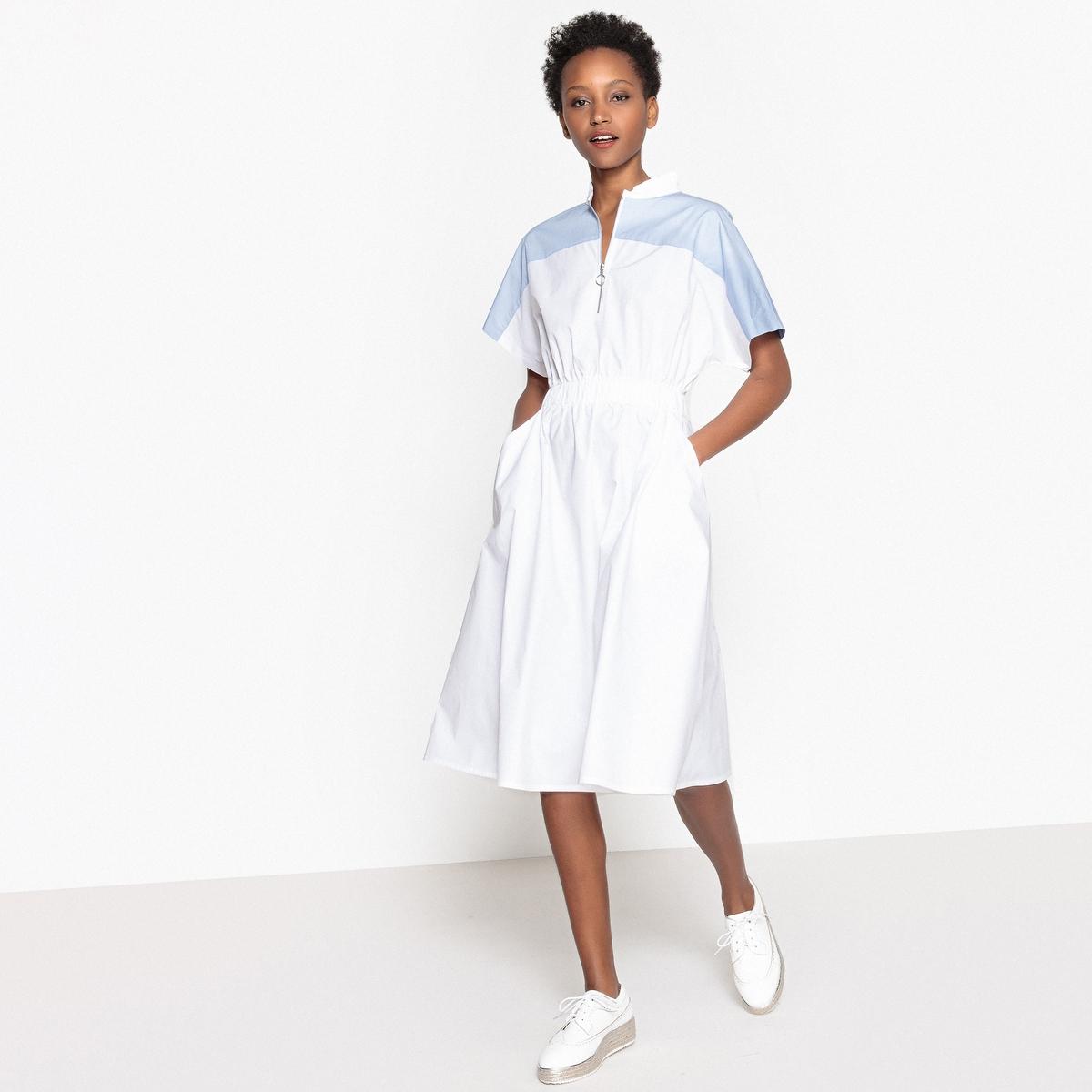 Платье в стиле колорблок с застежкой на молнию спереди и эластичным поясом
