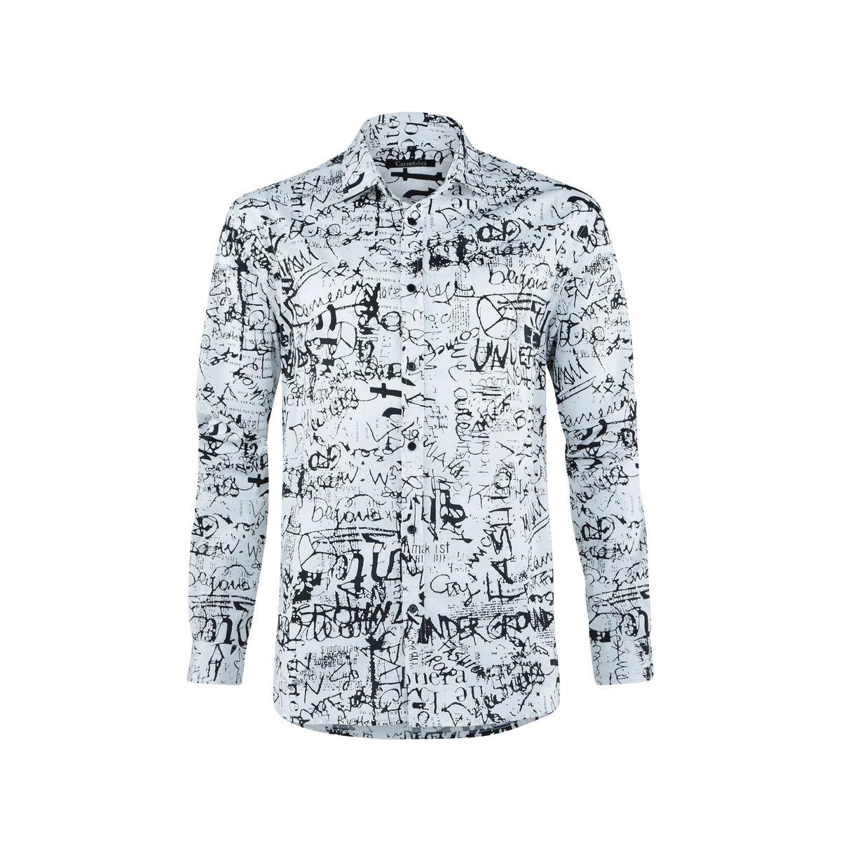 Chemise fond blanc imprime noir street art