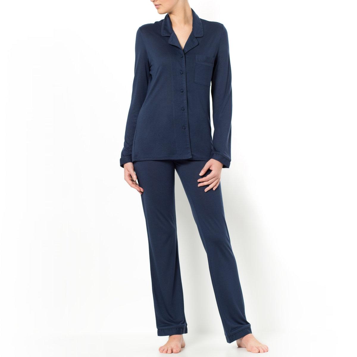 Пижама из модалаЖакет с кроенным воротником: длинные рукава, плоский нагрудный карман. Длина ок. 67 см.Брюки: эластичный пояс. Длина по внутр. шву ок. 76 см.      Пижама из 100% модала, машинная стирка при 30°.<br><br>Цвет: серый,темно-синий<br>Размер: 34/36 (FR) - 40/42 (RUS).42/44 (FR) - 48/50 (RUS).46/48 (FR) - 52/54 (RUS).50/52 (FR) - 56/58 (RUS)