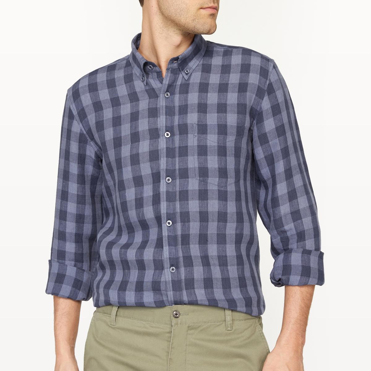 Рубашка в клетку прямого покроя из льна