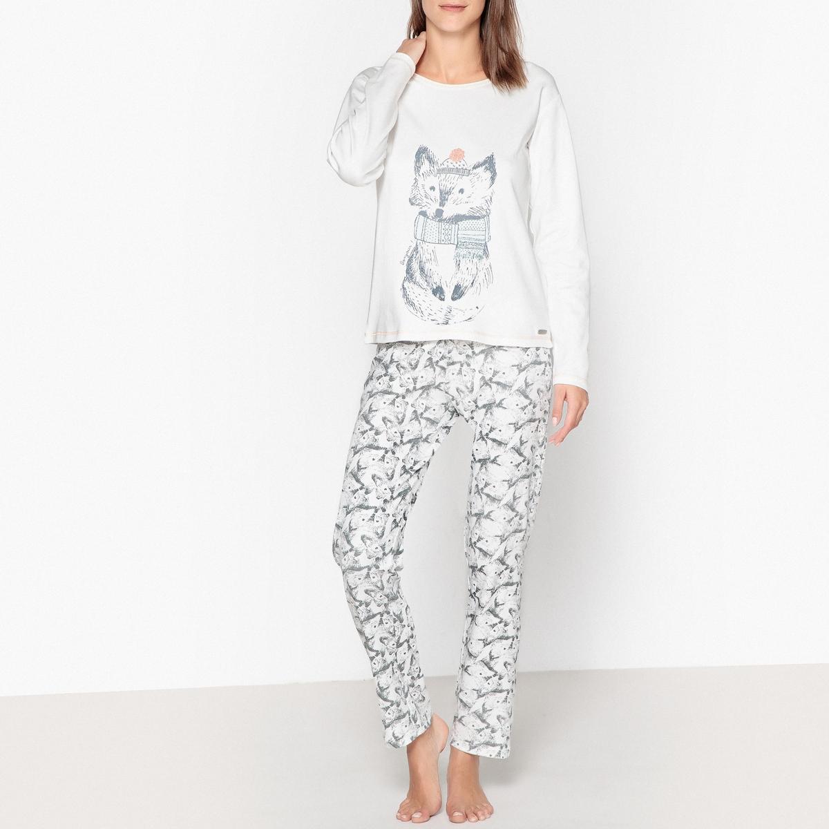Пижама из хлопка с принтом лиса цены онлайн