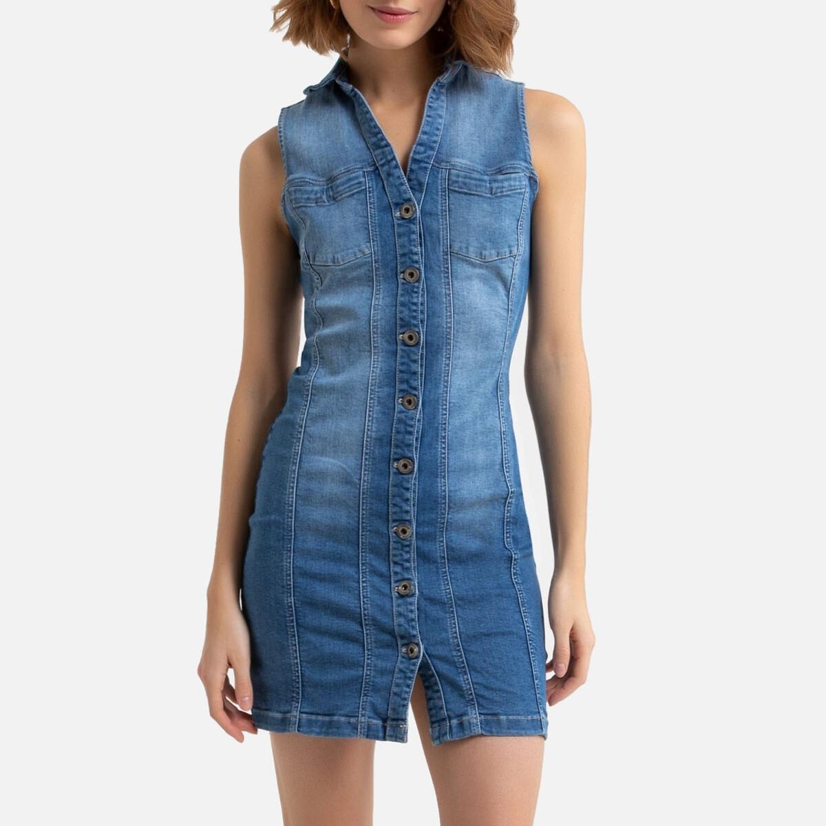 цена Платье La Redoute Короткое из денима Olyvia S-SDM L синий онлайн в 2017 году