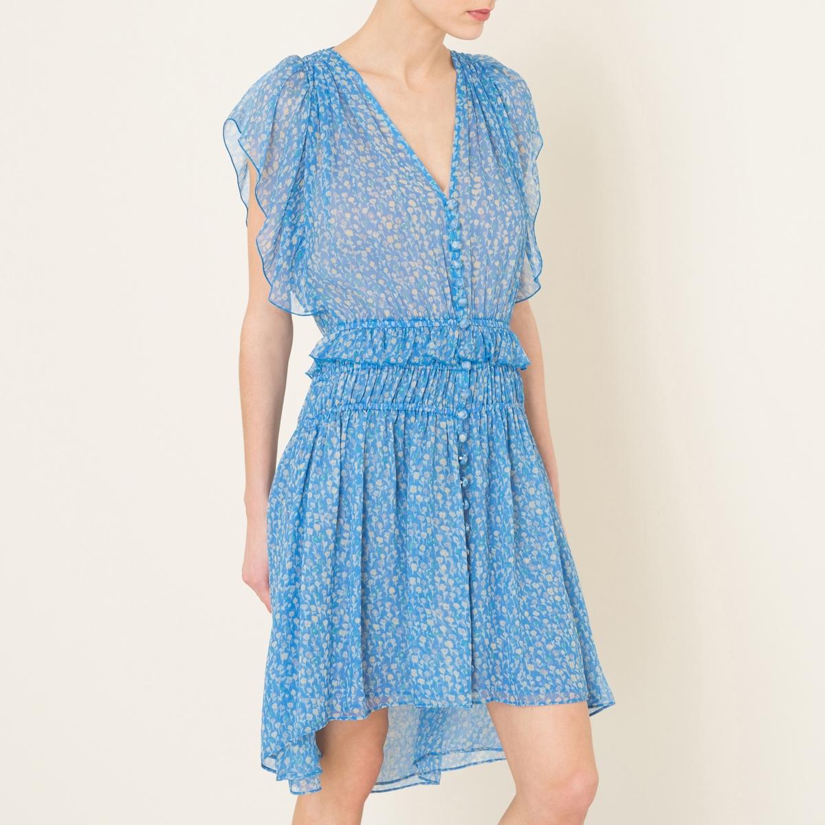 Платье шелковое с рисункомСостав и описание    Материал : 100% шелкПодкладка 100% полиэстер   Марка : THE KOOPLES<br><br>Цвет: синий