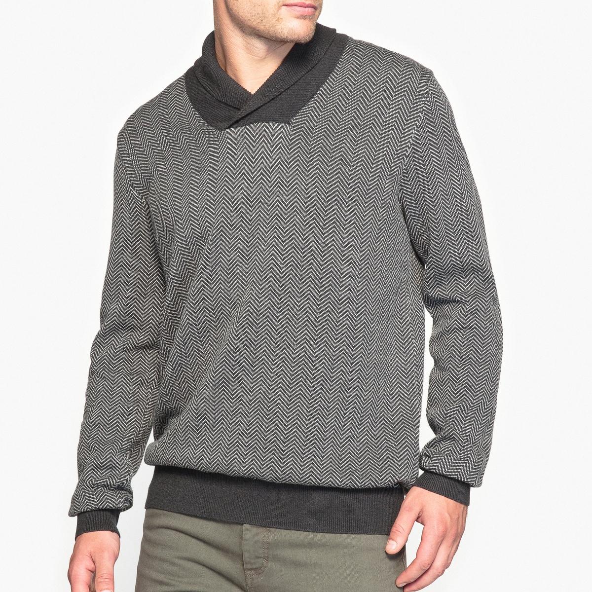 Пуловер с шалевым воротником, 100% хлопок