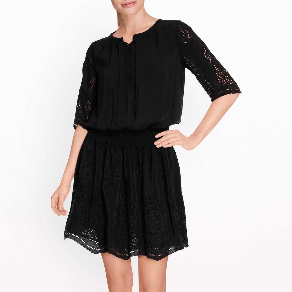 Платье с ажурной вышивкой maison scotch футболка с длинными рукавами