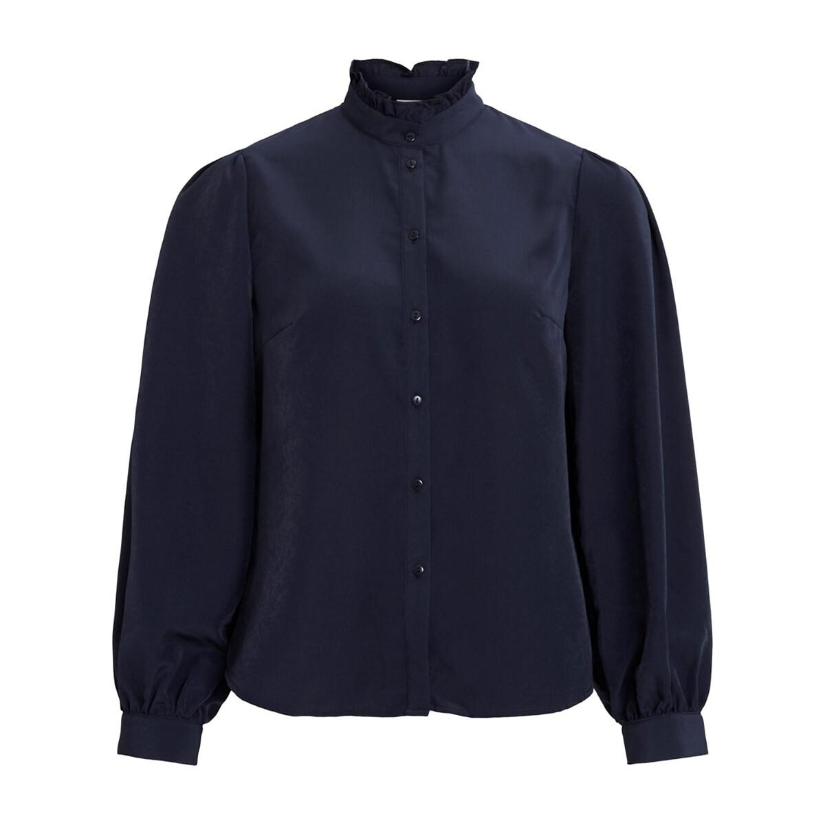 Рубашка La Redoute С длинными рукавами и воротником-стойкой 36 (FR) - 42 (RUS) синий свитшот la redoute с воротником стойкой и рисунком спереди 46 48 fr 52 54 rus черный