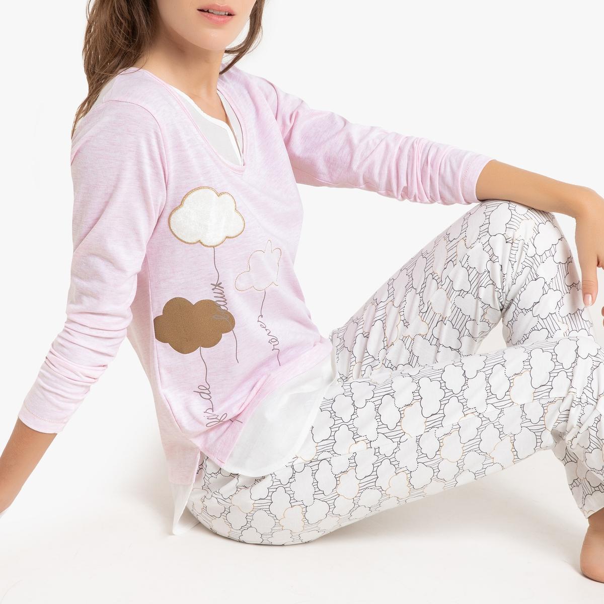 Пижама La Redoute Из хлопка Intime XL розовый свитшот la redoute la redoute xl розовый