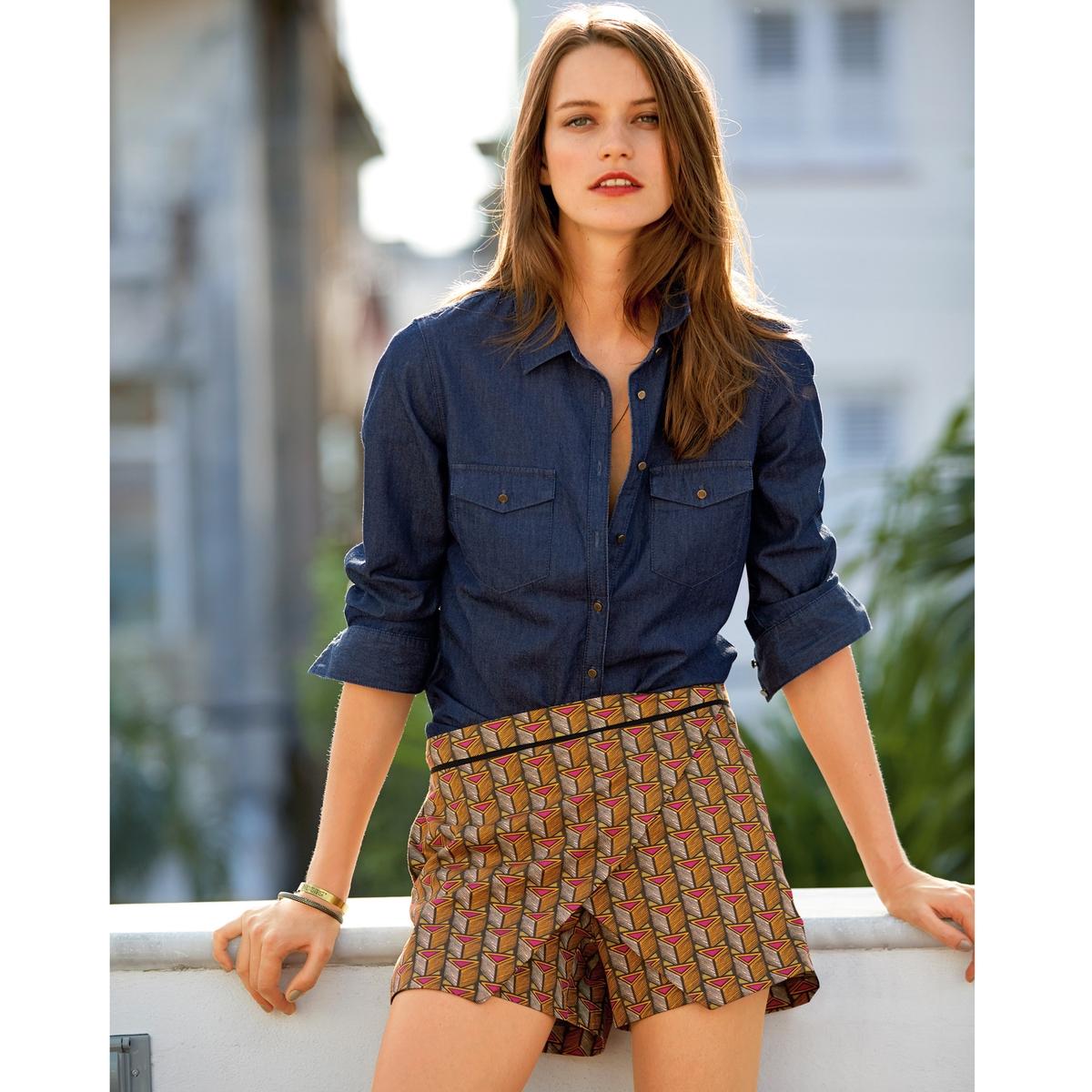 Юбка-шорты с рисункомЮбка-шорты из ткани стретч, 96% хлопка, 4% эластана. Черный кант по талии. Длина по внутр.шву 9 см. Ширина по боковому шву 33,5 см.<br><br>Цвет: набивной рисунок<br>Размер: 34 (FR) - 40 (RUS)
