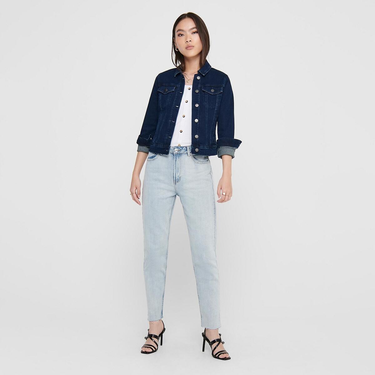Куртка LaRedoute Короткая прямого покроя из джинсовой ткани XL синий