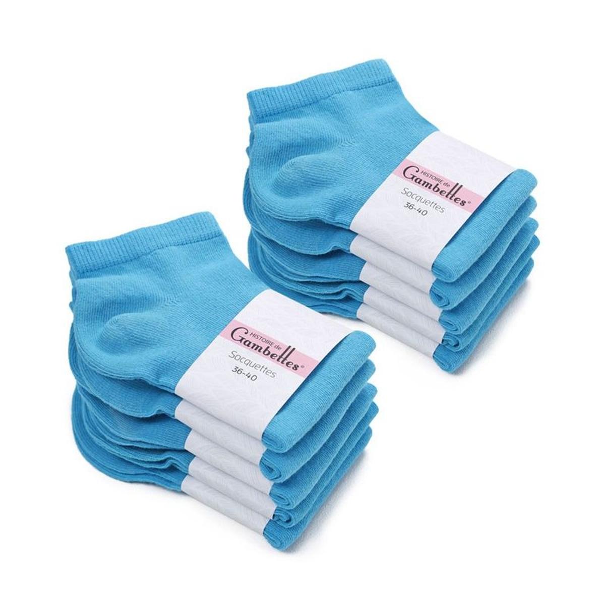 Socquettes Femme coton Bleu Horizon (Lot de 10) - Fabriqué en europe