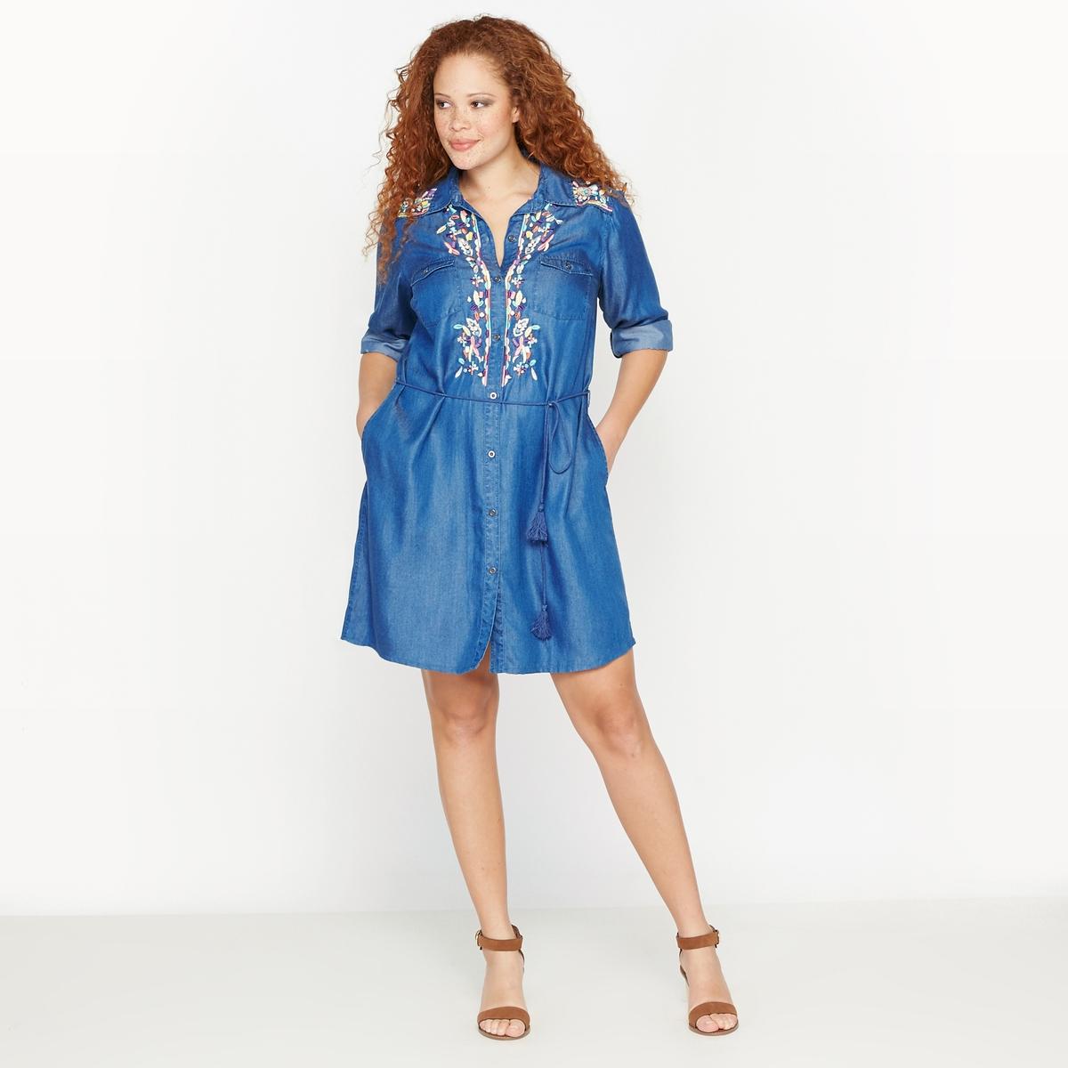 Платье-рубашка с вышивкойСостав и описание :Материал : ткань, 100% лиоцелл.Длина : 98 см для размера 48.Марка : CASTALUNAУход : Машинная стирка при 40 °С.<br><br>Цвет: синий деним<br>Размер: 46 (FR) - 52 (RUS).50 (FR) - 56 (RUS)