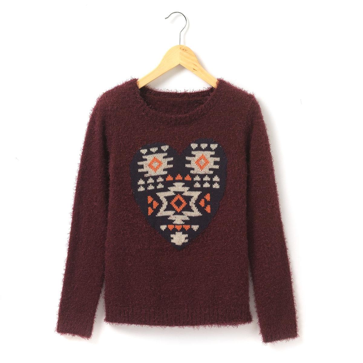 Пуловер из ворсистой ткани, сердце с этническим узором