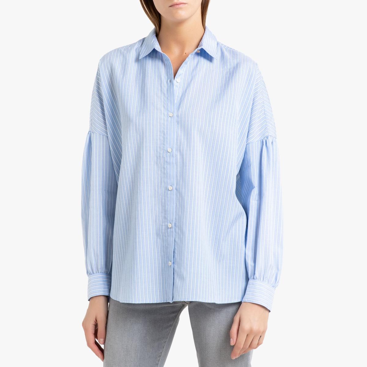 купить Рубашка La Redoute В полоску оверсайз с длинными рукавами BOTAN M синий по цене 12899 рублей