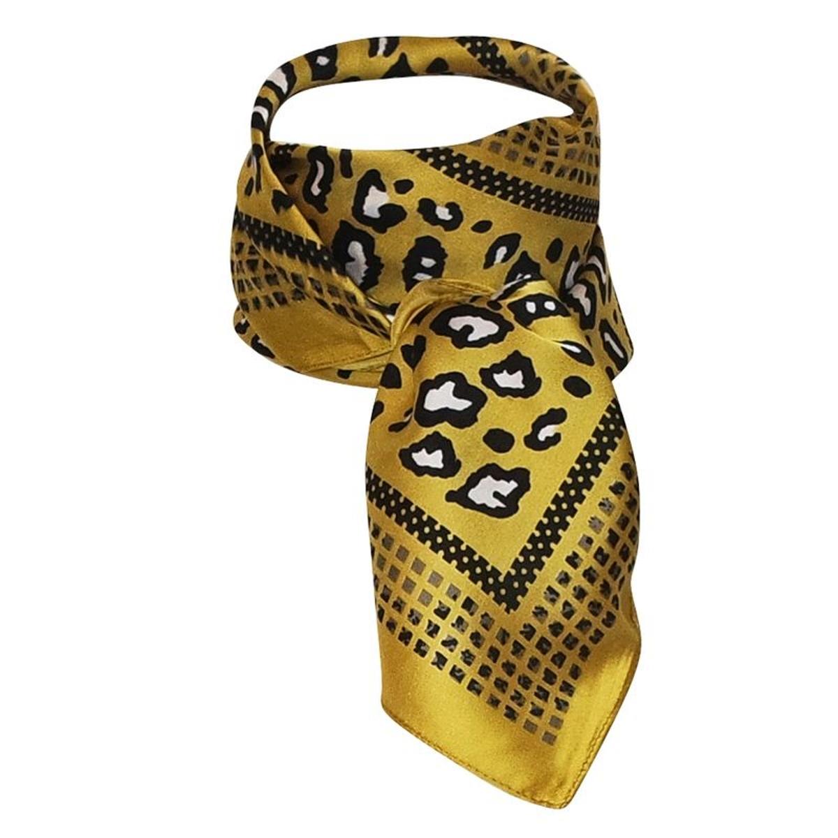 Foulard hôtesse polysatin moutarde léopard