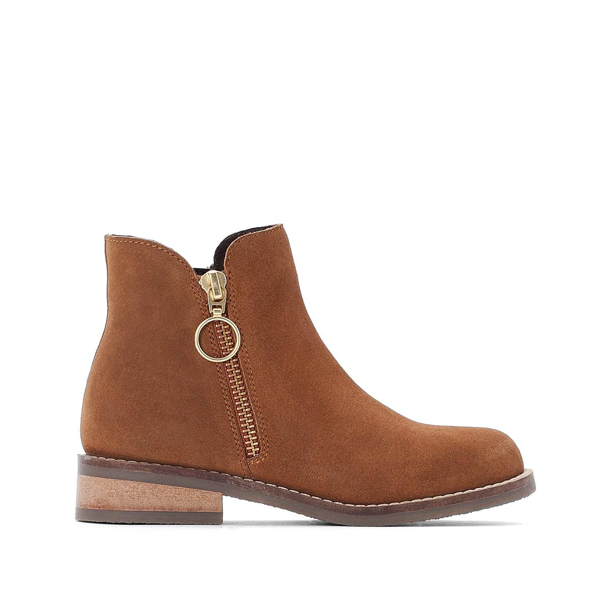 цена Ботинки La Redoute На молнии кожаные - 26 каштановый онлайн в 2017 году