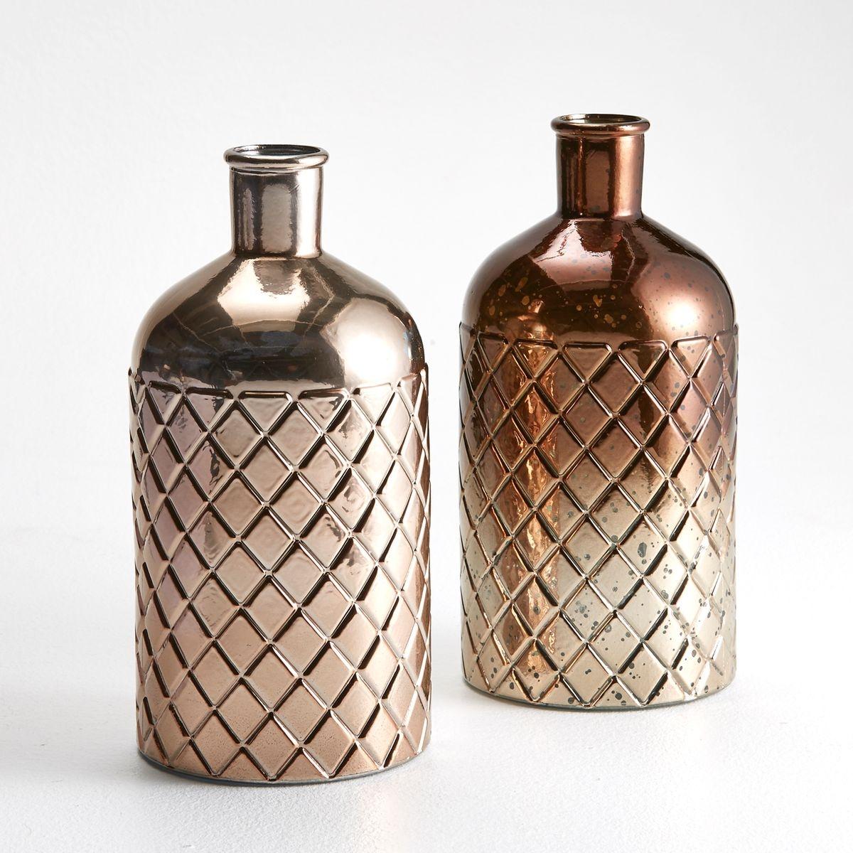 Vase forme bouteille, gravé diamant, Gitter