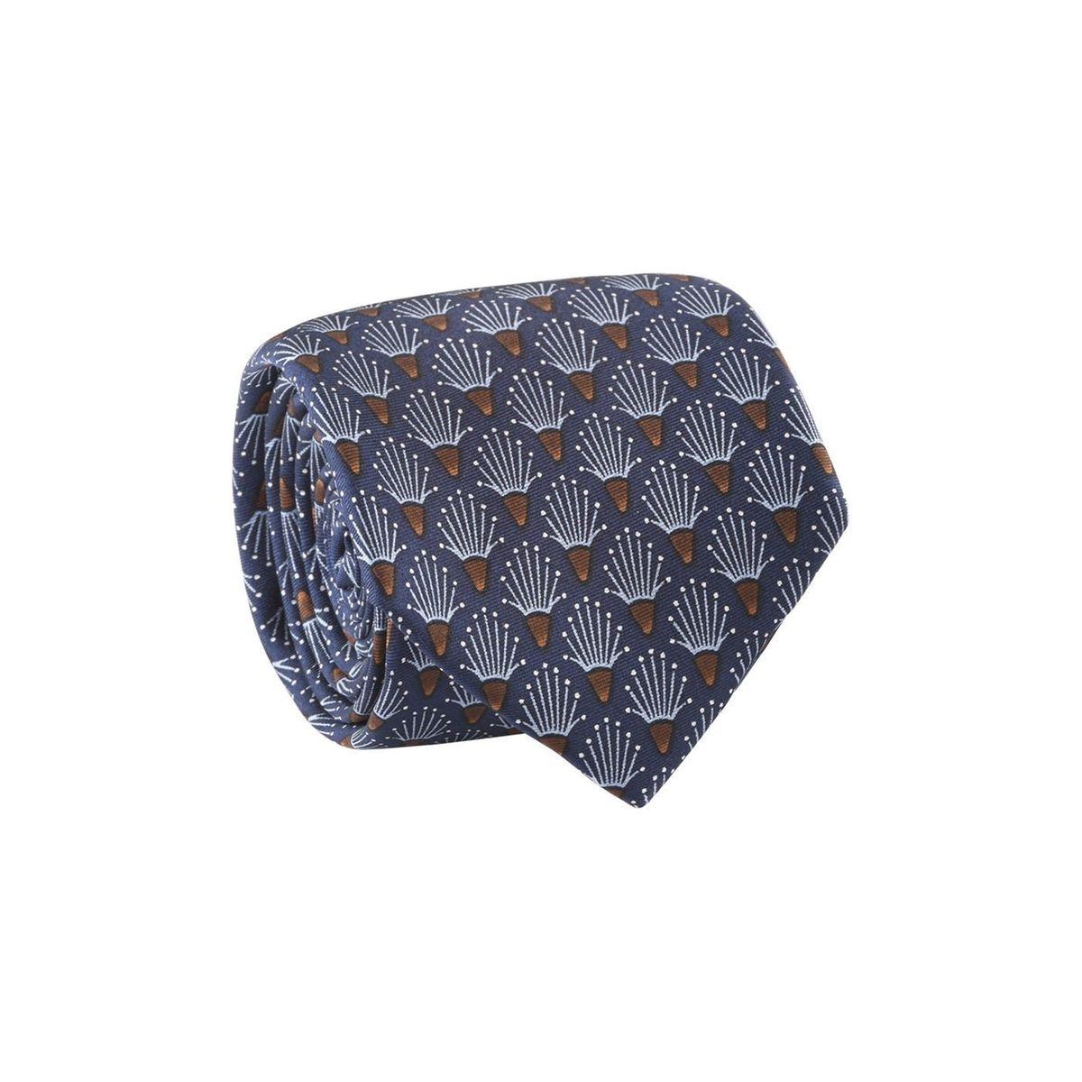 Cravate homme motif japonais Bleu marine / Bleu ciel