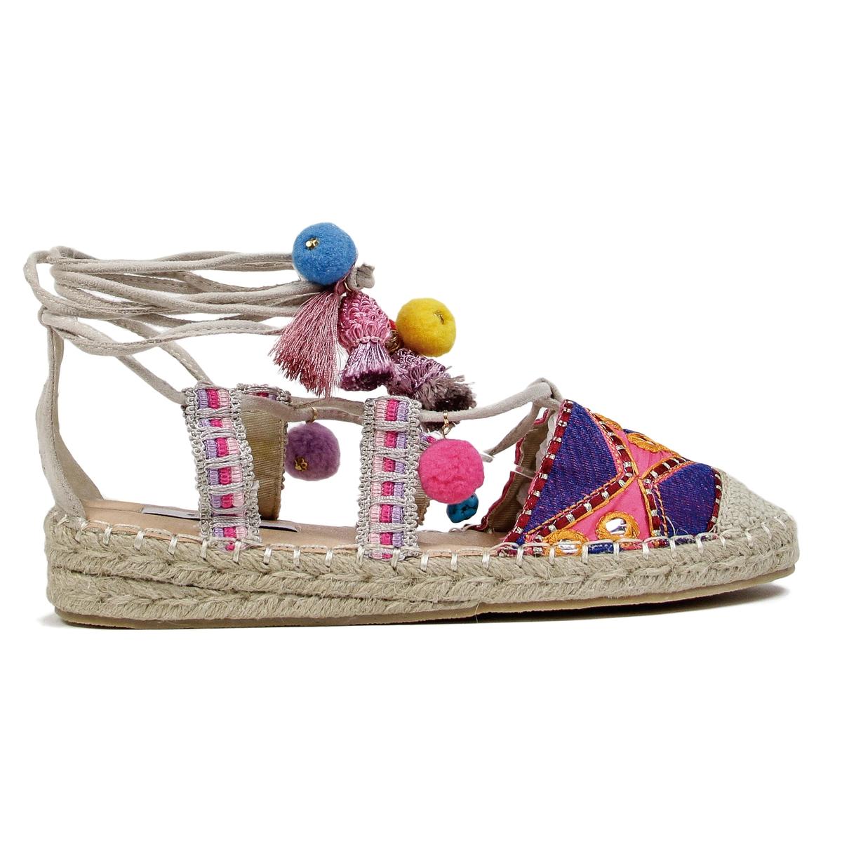 Sandálias multicolores em tecido, BAMBURI