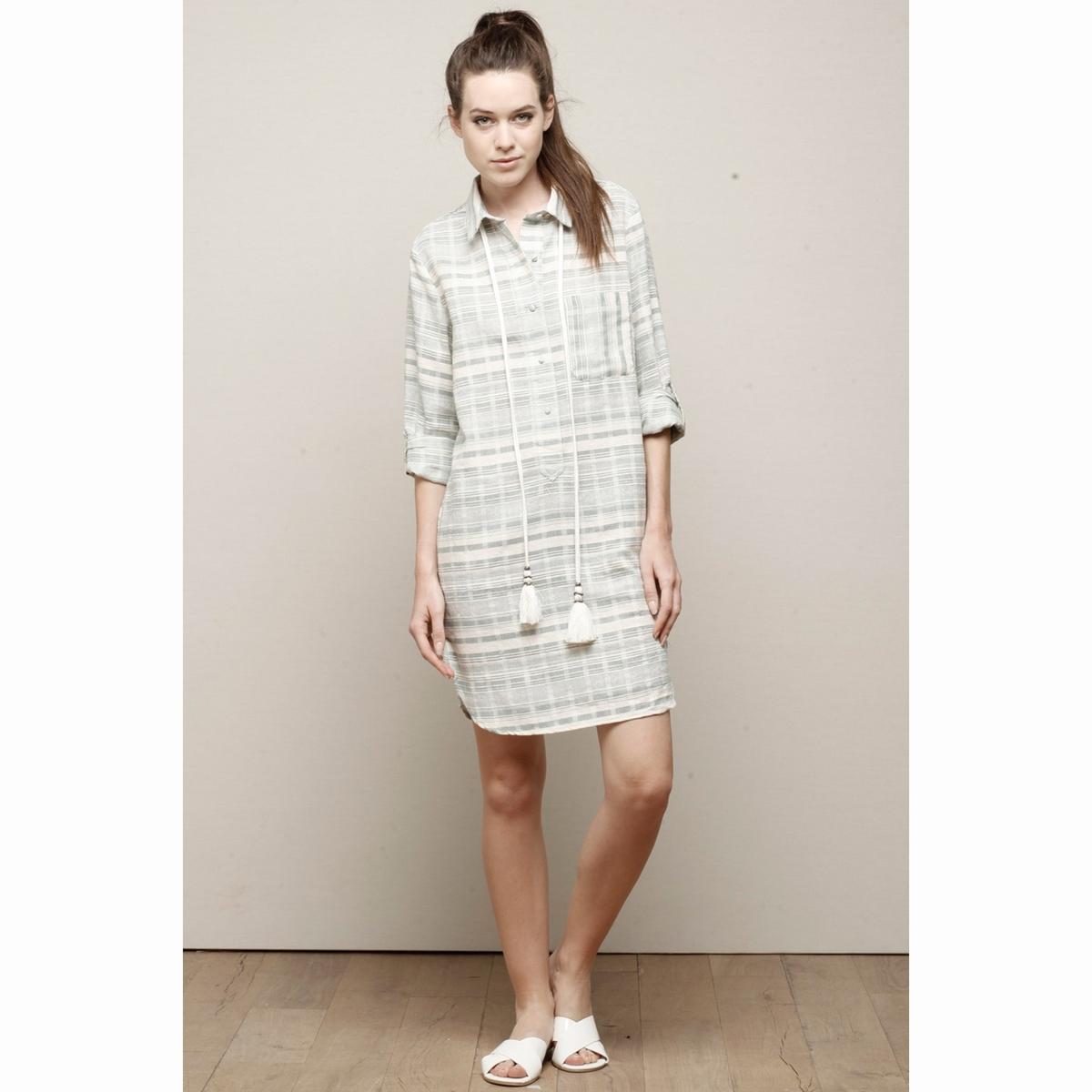 Фото Платье-рубашка в полоску с завязками на поясе. Купить с доставкой