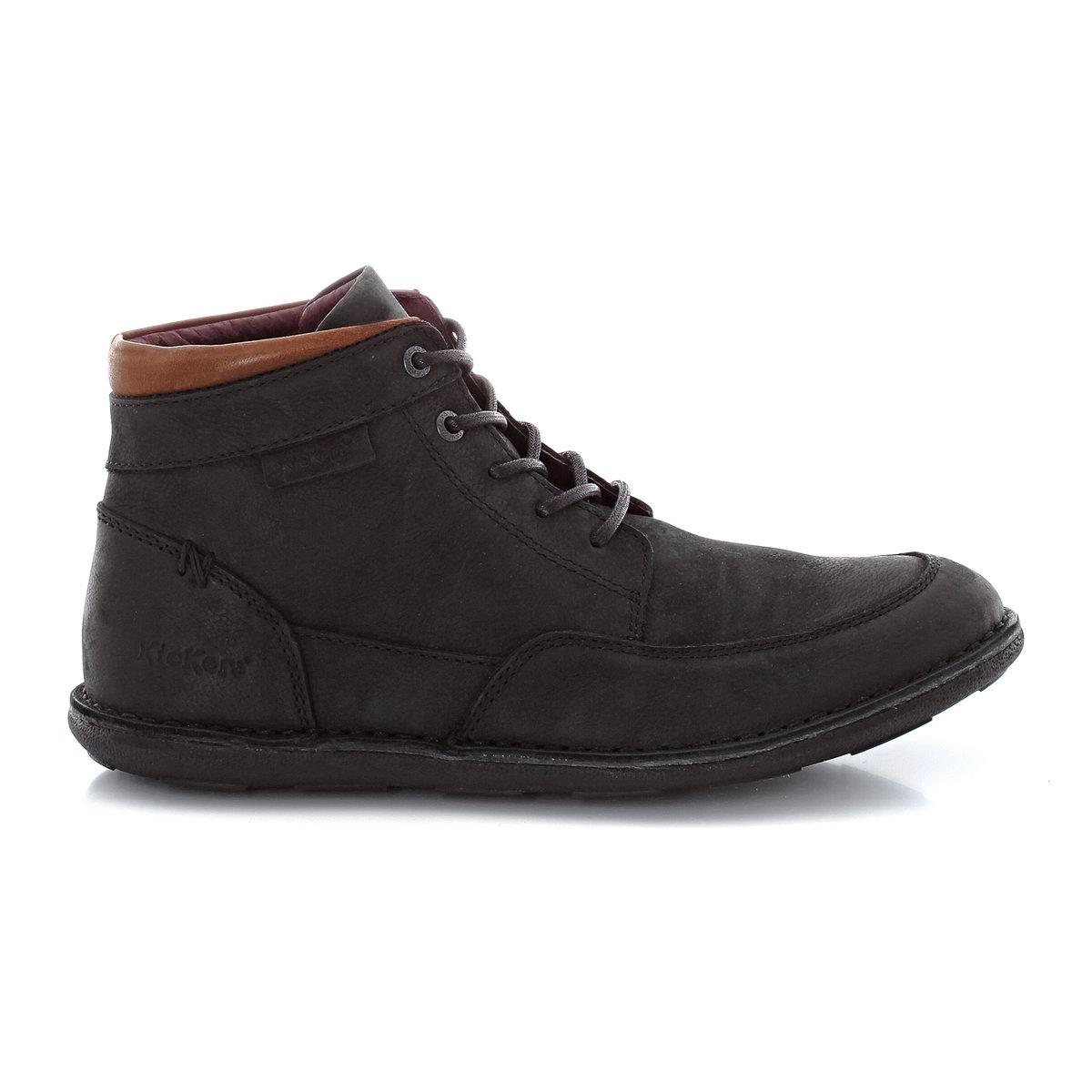 Ботинки из кожи со шнуровкойОтличные кожаные ботинки для любой дороги - удобство и качество от Kickers!<br><br>Цвет: черный<br>Размер: 41