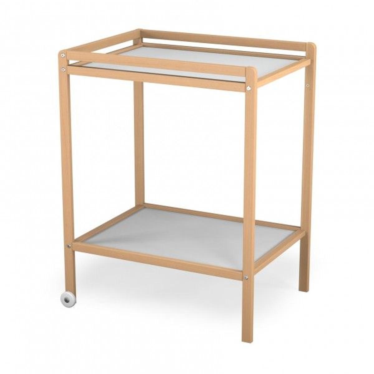 Table à langer à roulettes + étagère Vernis