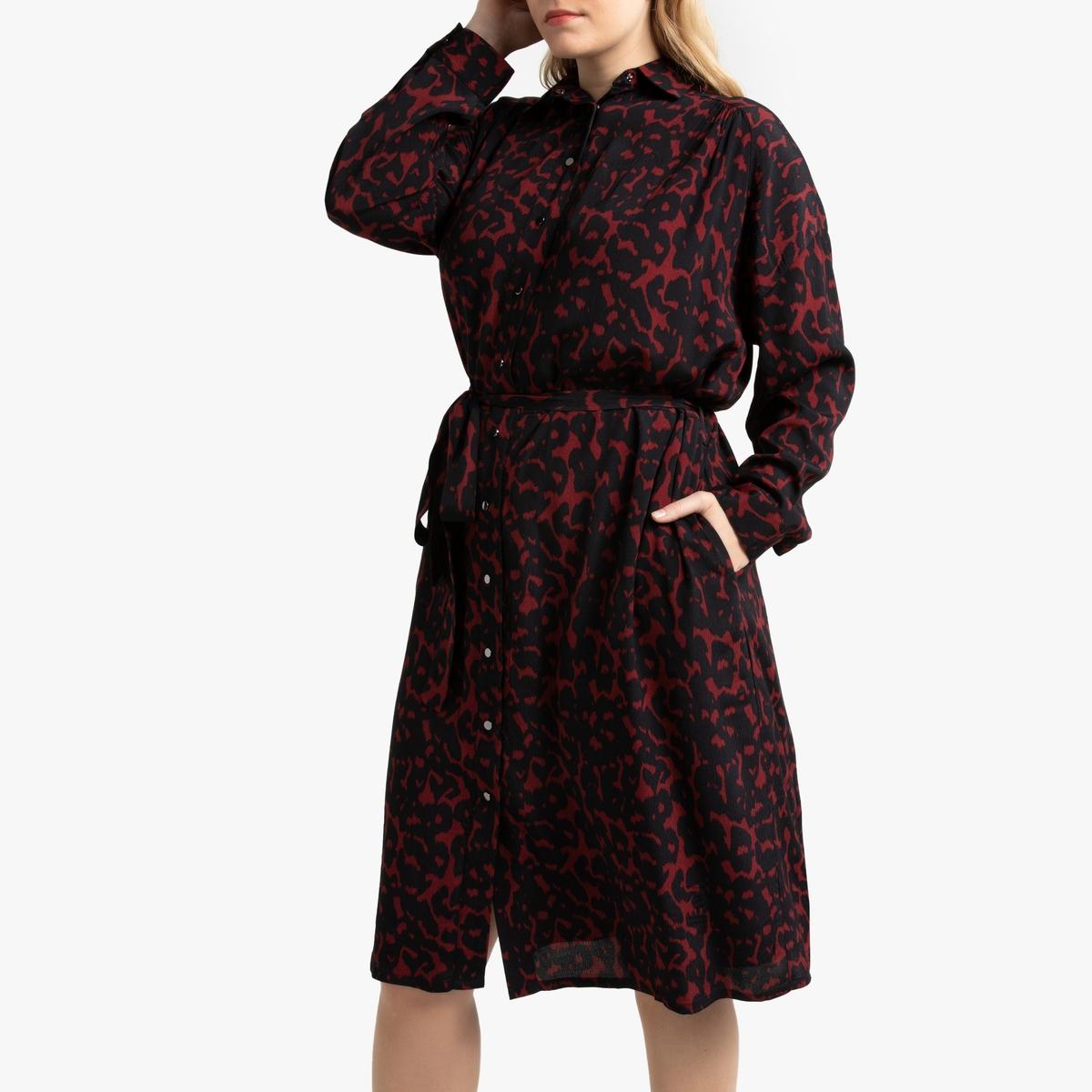 Платье-рубашка La Redoute С леопардовым рисунком 54 (FR) - 60 (RUS) другие