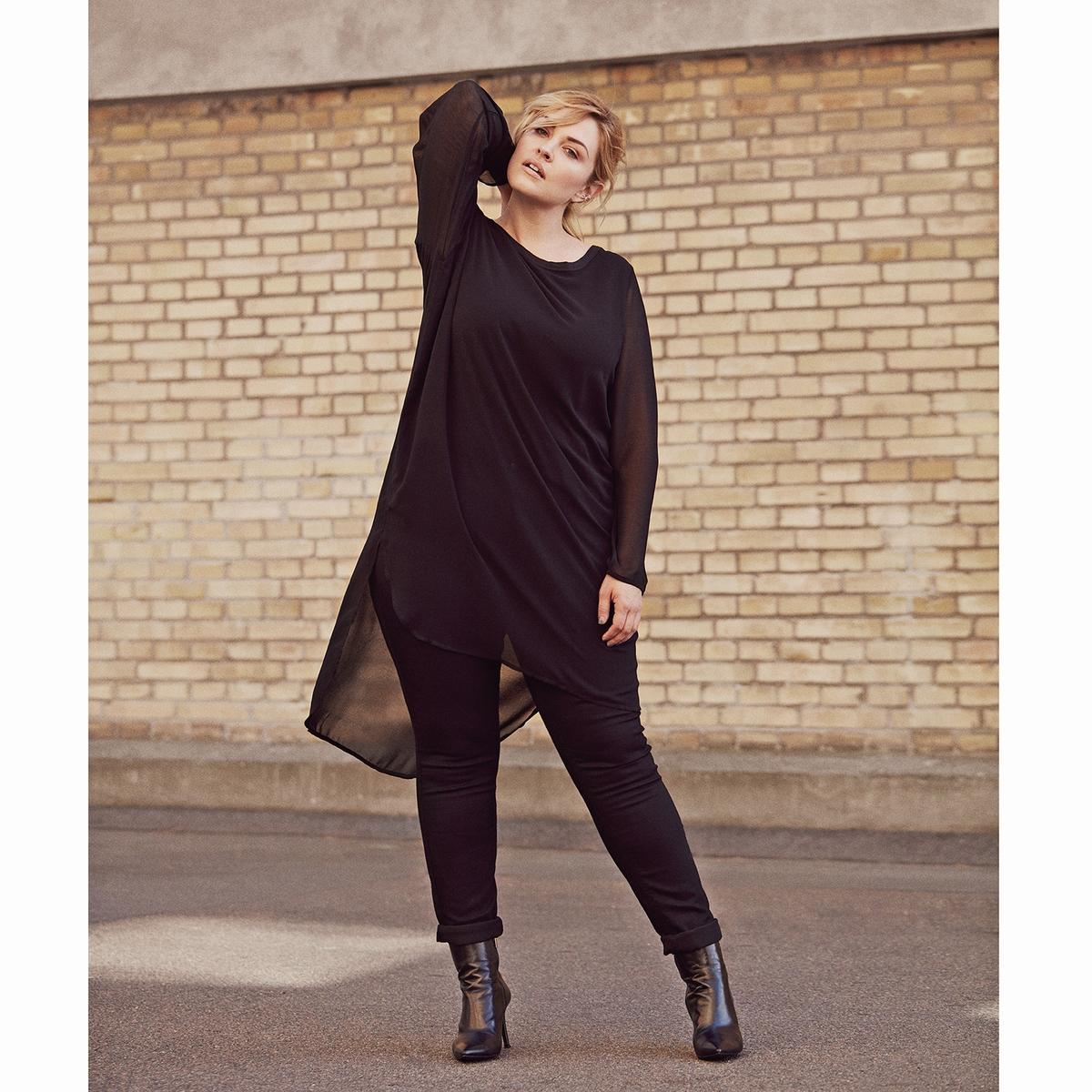ПлатьеКрасивое и элегантное платье Zizzi. Платье длиннее сзади, красивые разрезы по бокам. Прозрачные рукава.<br><br>Цвет: черный<br>Размер: 42/44 (FR) - 48/50 (RUS)