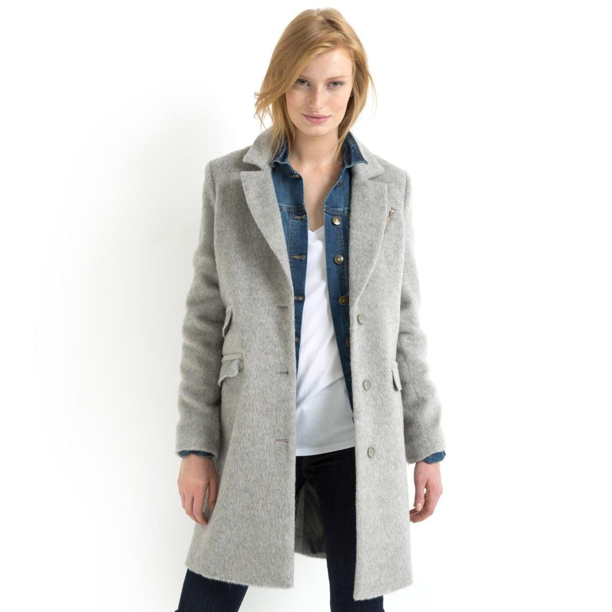 Пальто<br><br>Цвет: розовый меланж,серый меланж<br>Размер: 40 (FR) - 46 (RUS).44 (FR) - 50 (RUS).46 (FR) - 52 (RUS).48 (FR) - 54 (RUS)