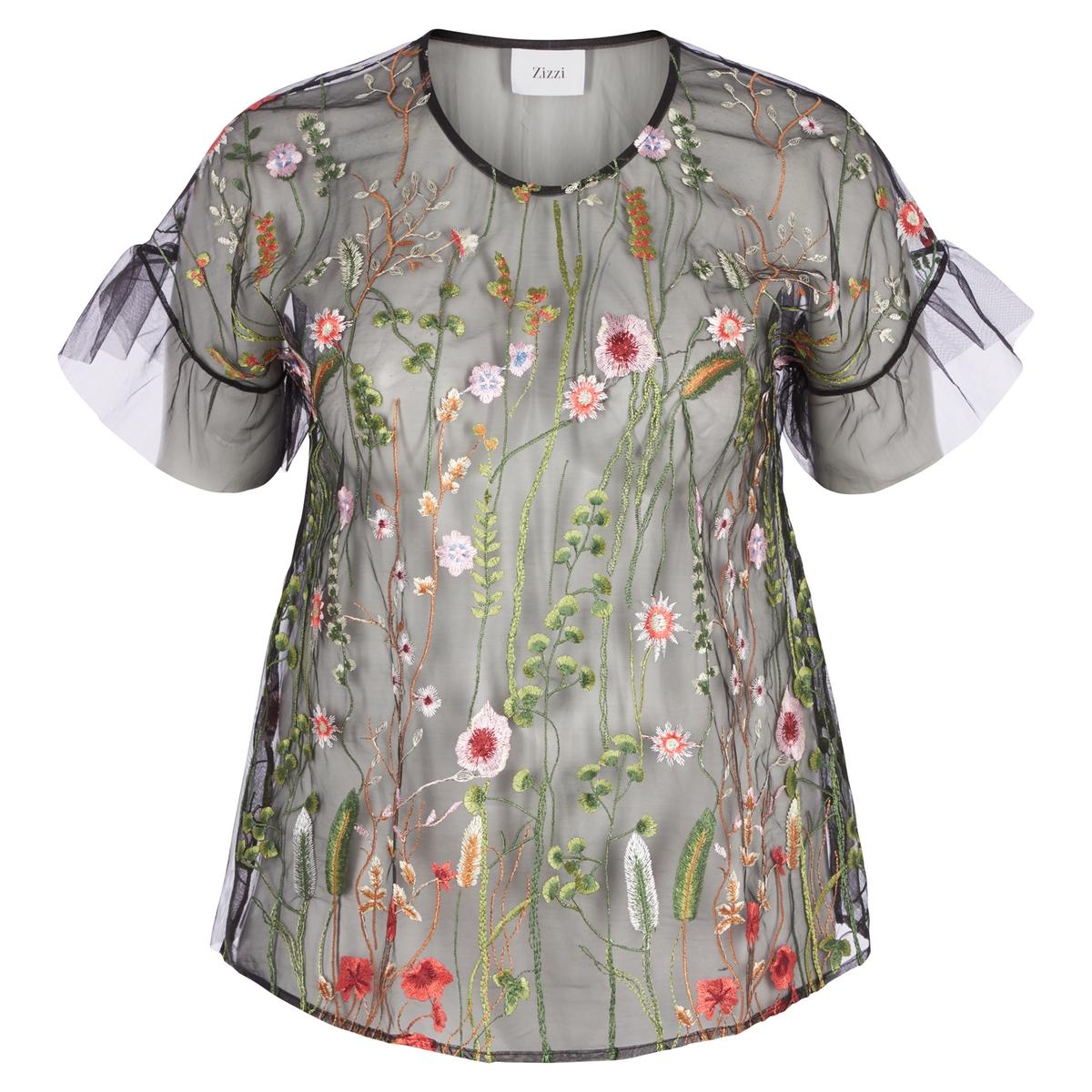Блузка с круглым вырезом и цветочным рисунком, с короткими рукавами zizzi