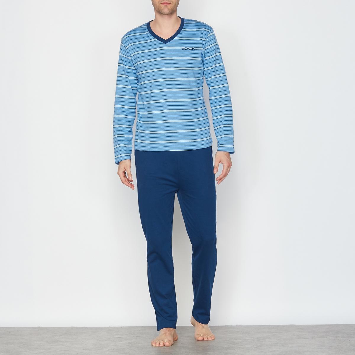 Пижама двухцветная с V-образным вырезом. Длинные рукаваСостав и описаниеМатериал : 100% хлопкаМарка : R essentiel.УходМашинная стирка при 30 °CСтирка с вещами схожих цветовГладить с изнанки..<br><br>Цвет: темно-синий