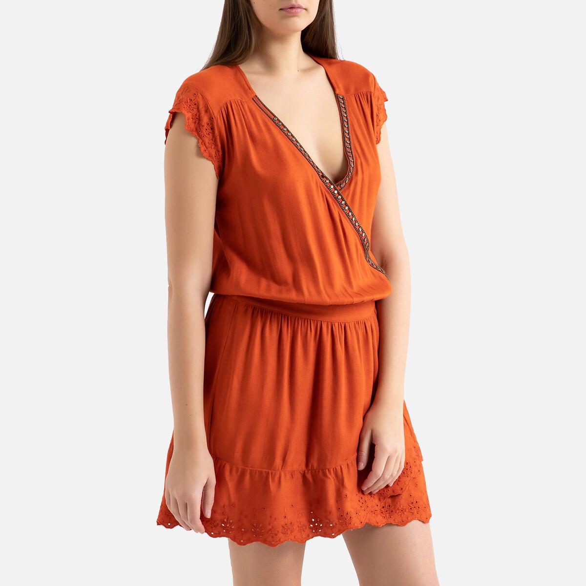 Платье La Redoute С рисунком без рукавов 42 (FR) - 48 (RUS) оранжевый