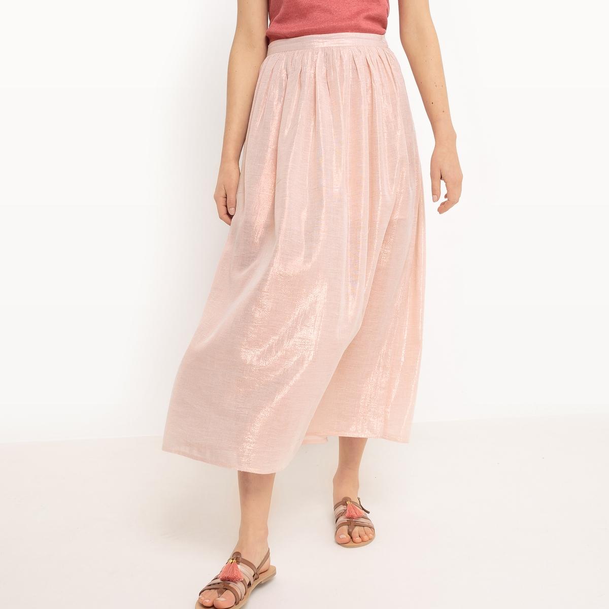 Юбка-миди в полоску розового цвета