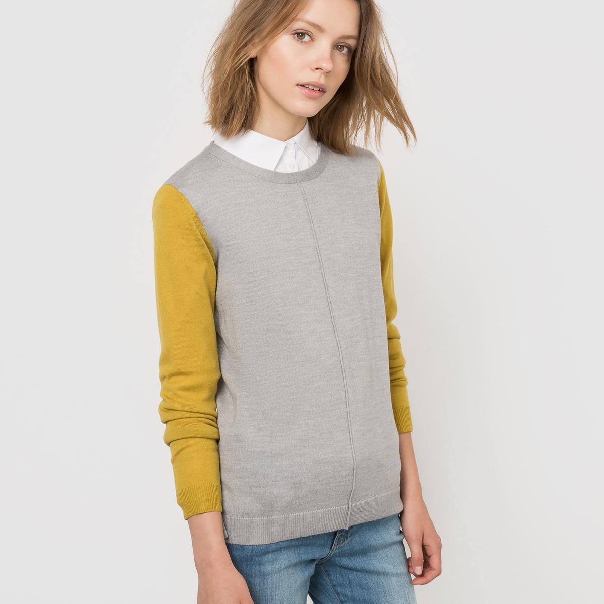 Пуловер двухцветный из 100% шерсти мериносаДвухцветный пуловер. Круглый вырез. Длинные рукава. Отделка в рубчик Состав и описание :Материал        100% шерсти MERINOSДлина      65  смУход :Машинная стирка при 40 °СМашинная сушка на умеренной температуре.Обработка Easy Care® всего изделия  для легкой глажки. 100% применяемой шерсти мериноса получено без процедуры мьюлесинга, что гарантирует благополучие животных.<br><br>Цвет: оливковый/черный,серый меланж/оливковый<br>Размер: 42/44 (FR) - 48/50 (RUS)