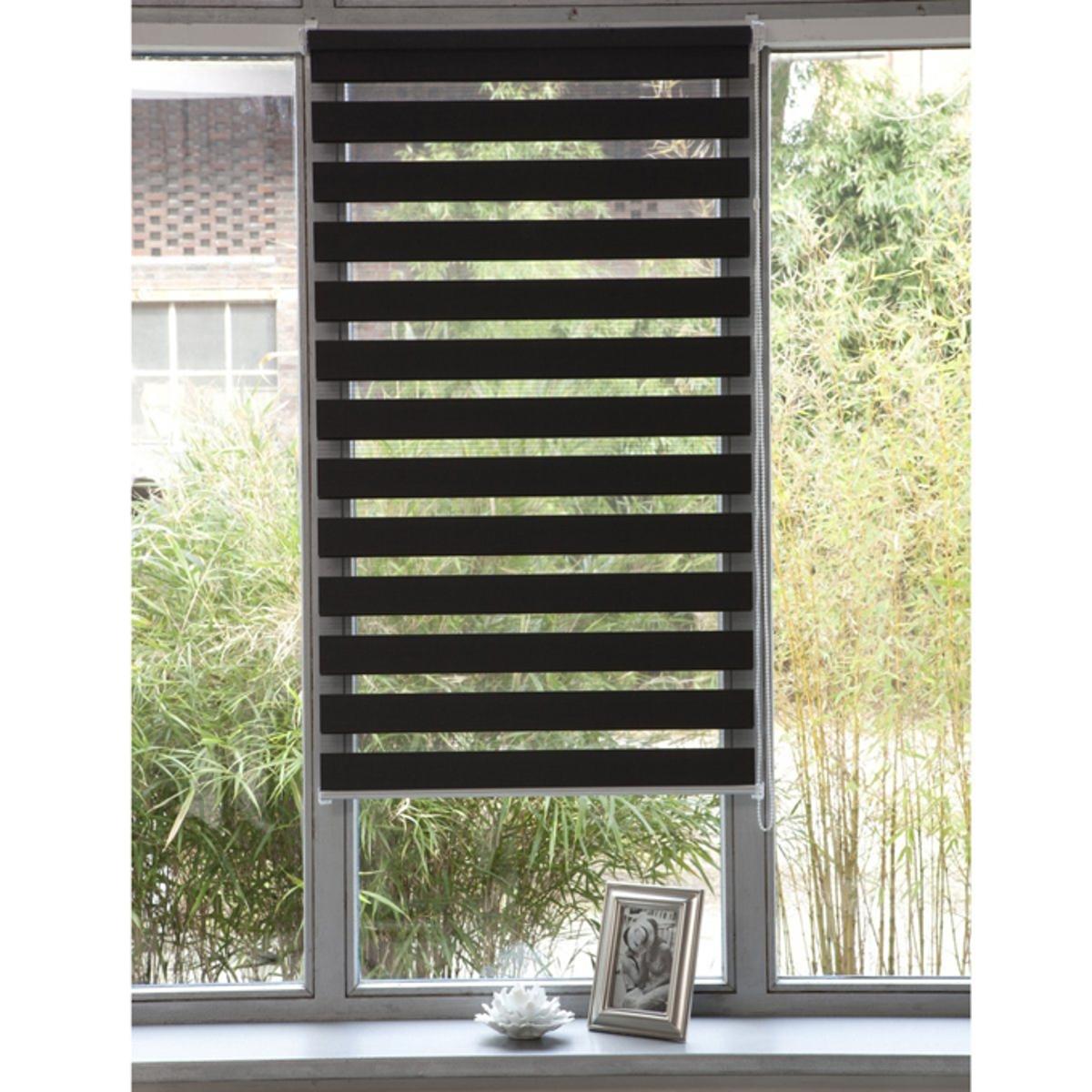 Штора рулонная, пропускающая свет, Jour / Nuit, с системой Easy (для не широких окон)Эта штора позволяет выбирать интенсивность света, от ажурного эффекта до рассеянного света. Снабжена системой Concept Easy : крепление защелкой !. Без сверления и крепления, она крепится на окна ПВХ с помощью клипс, входящих в комплект .  Мягкая ткань 100% полиэстер .Тяжелая рейка внизу.Длина регулируется механизмом с цепочкой.Можно отрезать по ширине. - 150 x 32 см- 150 x 37 см- 150 x 42 см 3 цвета на выбор - 150 x 42 см .<br><br>Цвет: антрацит<br>Размер: 42x100 cm