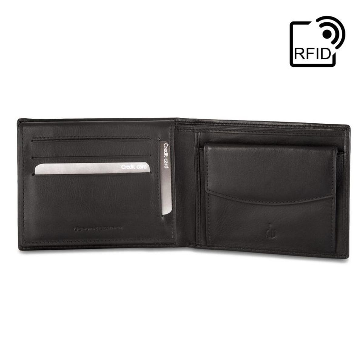 DV Portefeuille pour homme RFID classique en Cuir Véritable Nappa avec Porte-monnaie et fentes pour cartes de crédit
