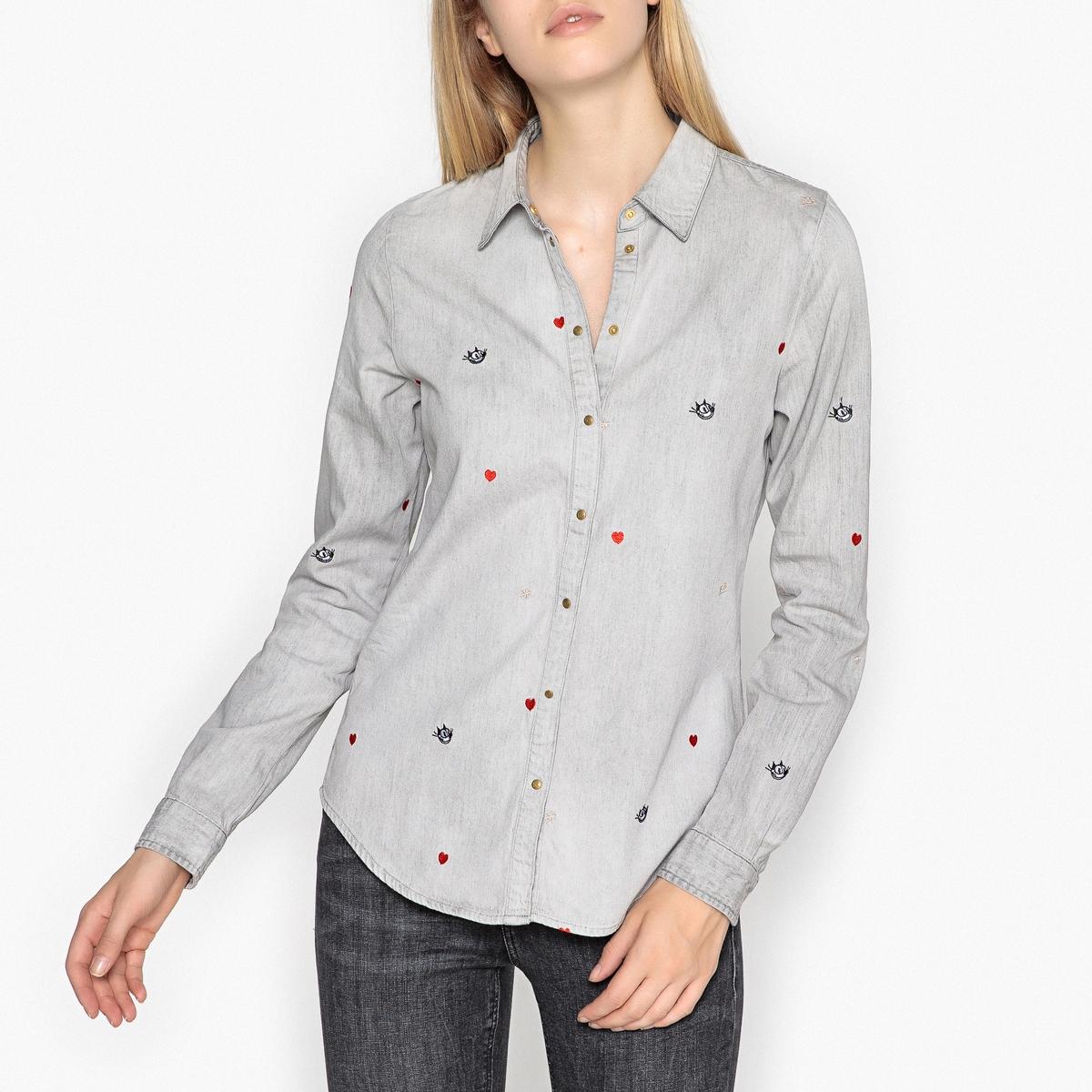 Рубашка из денима с вышивкой Felix the Cat