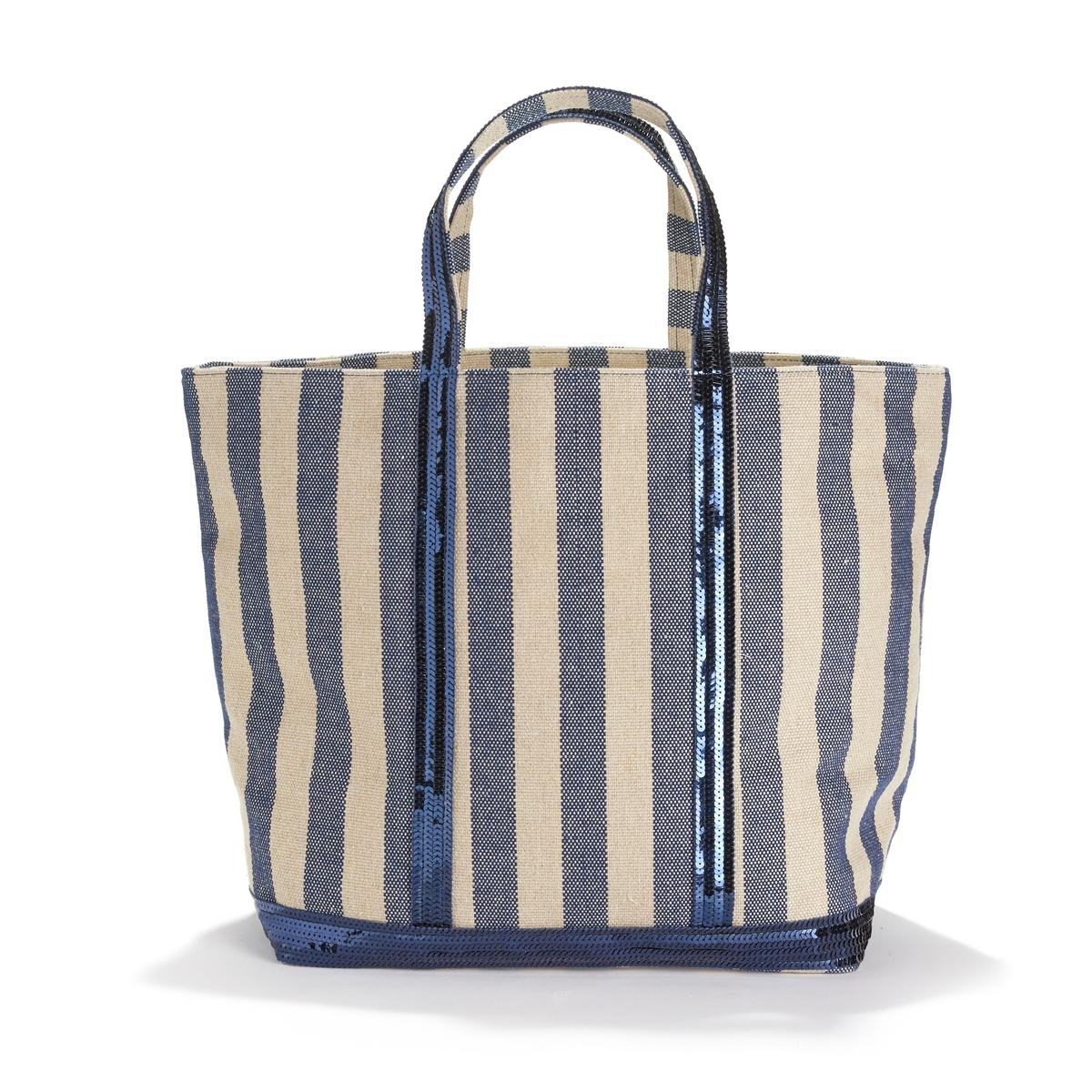 Сумка-шоппер в полоску с блестками из ткани цена