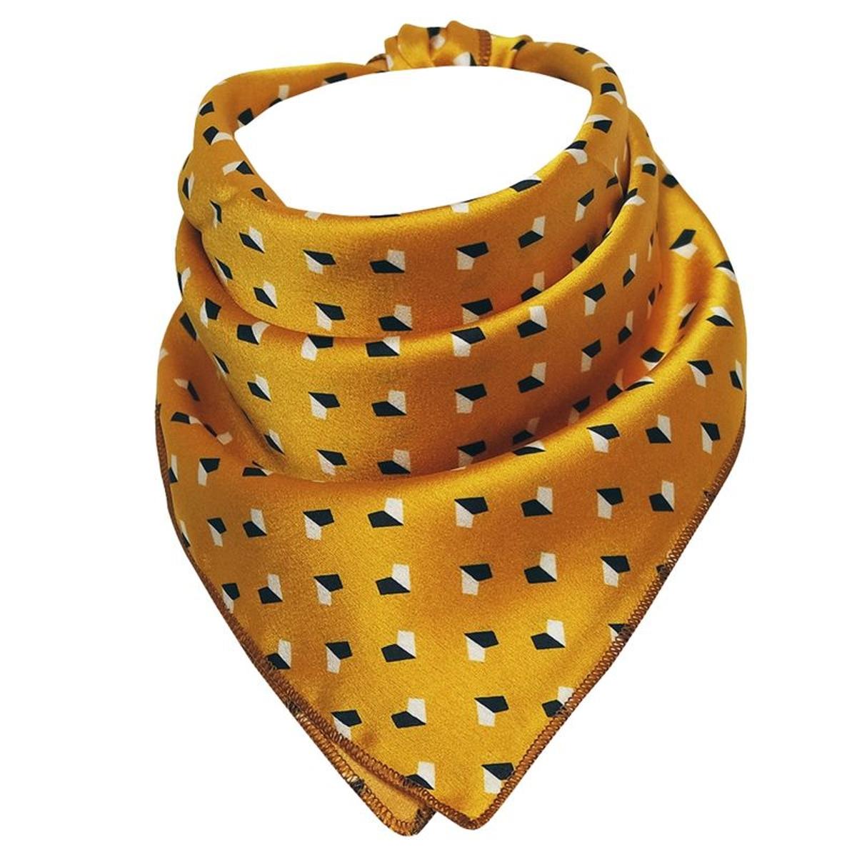 Foulard carré polysatin moutarde géométrique